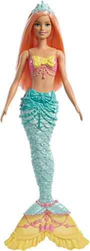 Barbie dreamtopia, bambola sirena con coda arcobaleno e capelli corallo, giocattolo per bambini 3 + anni, fxt11