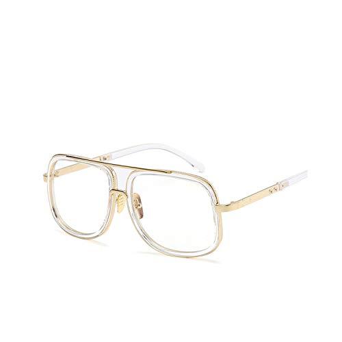 Sportbrillen, Angeln Golfbrille,Fashion Men Sunglasses Classic Women Brand Designer Metal Square Sun Glasses UV400 Protection 8-Transparent-Transp