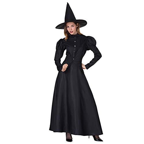 WEISY Schwarze Hexe Halloween-Kostüm mit Hut für Frauen Sexy Black Magic Hexe Kleid Cosplay Maskerade Kostüm (Black Magic Hexe Kostüm)