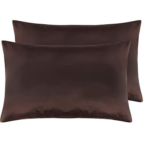 NTBAY Seidige Satin Kissenbezüge 2er-Set, Super Soft Cozy, Reißverschluss, 50x75 cm, Schokolade - Schokolade Kissenbezug Satin