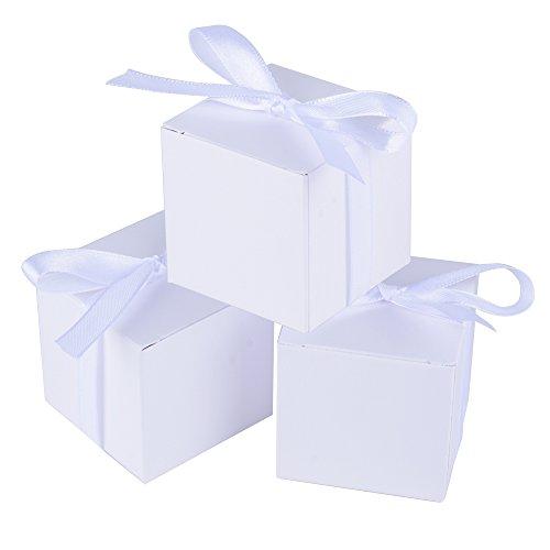 Aoner (5 * 5 * 5cm) 100pz scatoline bianche scatole portaconfetti con nastro bomboniere segnaposto regalo per inviti festa matrimonio nozze laurea battesimo