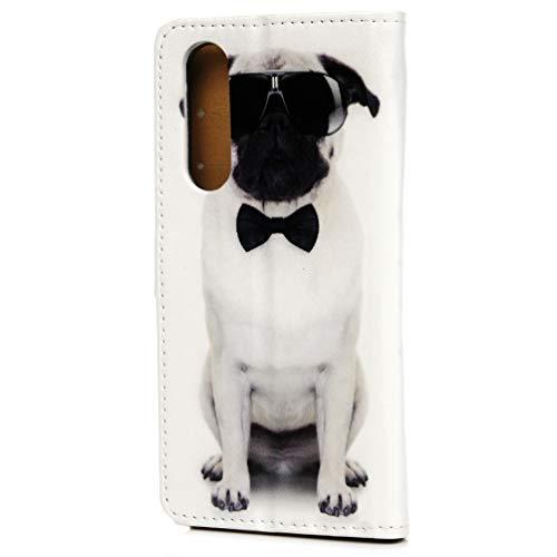 Kompatible mit Huawei P30 Hülle Case Kunstleder PU Leder Hülle Wallet Tasche Handyhülle Soft TPU Innere Schutzhülle Schale Bookstyle Ständer Kartenfach Magnetverschluss Brieftasche Brille Hund
