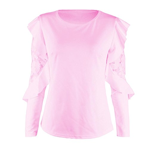 Bonjouree Pull Chic Femme Top Blouse Manche Longue Dentelle Col Rond Rose