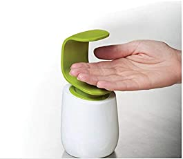 EKRON C-Shaped Pump Single Handed Hand Wash Dispenser or Soap Liquid Dispenser for Wash-Basin, White and Green (Bottle)