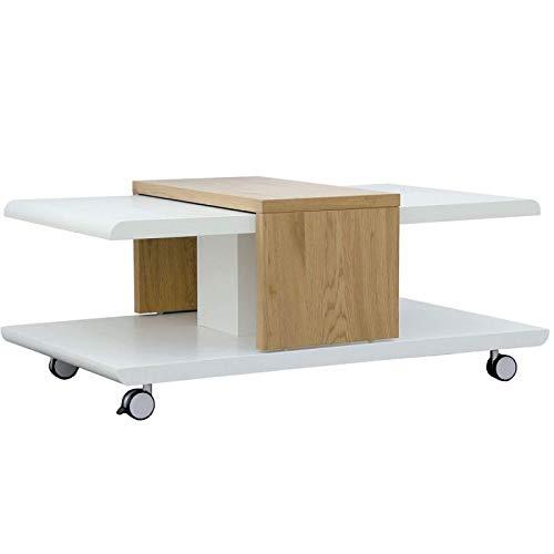 Paris Prix - Table Basse Design yavor 110cm Naturel & Blanc
