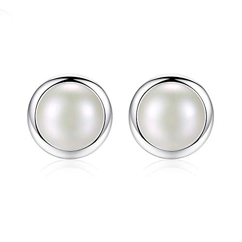 Style 925 Sterling Silber Ohrringe, Damen Ohrringe, Knopf Ohrringe, natürliche Perlenohrringe, Runde Ohrringe