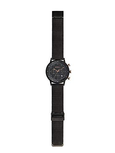 Breil - orologio da uomo six.3.nine tw1812 - cronografo con quadrante nero monocolore in vetro minerale - cassa in acciaio 44 mm - bracciale cinturino maglia milanese - movimento al quarzo - black