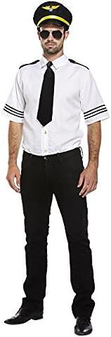 Mens Adult Airline Pilot Cabin Crew Uniform Captain Fancy Dress Costume Outfit U36233