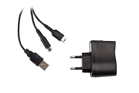 BranderyB - Chargeur secteur 8 en 1- DSi XL/Dsi/DS Lite/3DS XL/3DS/2DS/New 3DS/New 3 DS XL- Noir