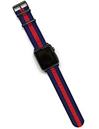 Comfituck Bands NATO/Zulu(Black Buckle and Black Adapters) One Size Fit Band Strap for iWatch Woven Nylon Series 1/2/3(42mm, Navy Blue-Red)