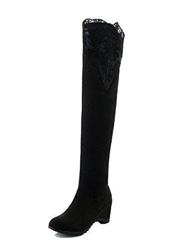 Minetom Damen Herbst Elegant Spitze Dekoration Lange Stiefel Knie Hoch Stiefel Flache Ferse Über Knie Schuhe Schwarz EU 41 (6 Zoll-knie-boot)