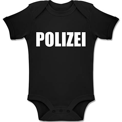 Shirtracer Karneval und Fasching Baby - Polizei Karneval Kostüm - 3-6 Monate - Schwarz - BZ10 - Baby Body Kurzarm Jungen Mädchen