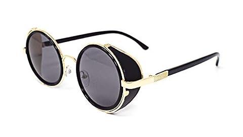 Steampunk ultra lunettes de soleil or avec des verres gris 50 ans ronde verres UV400 (Occhiali da sole)