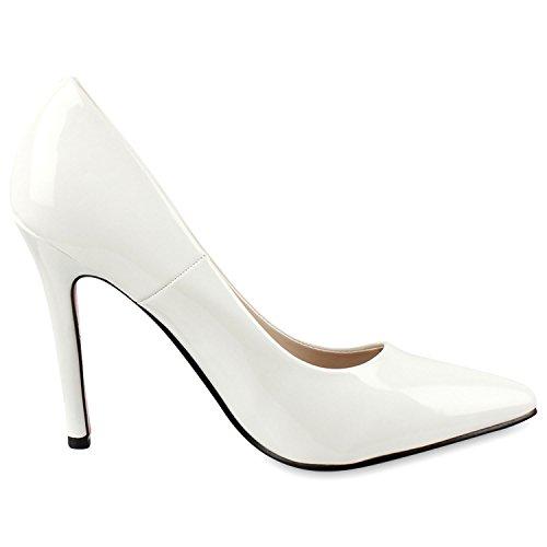Stilvolle Damen Pumps | Modische Akzente durch spitze Schuhform & Lack | Party oder Business Weiss Rot