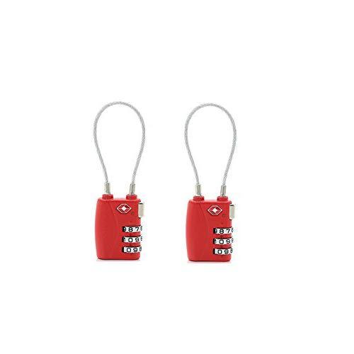 Donjon TSA Travel Gepäck Schlösser, 3-stellige Kombination Sicherheit Kabel Vorhängeschloss (red) -