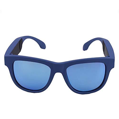 KCaNaMgAl Knochenleitungsbrillen-Headset, drahtlose Bluetooth 4.0-Sportkopfhörer Polarisierte Sonnenbrille Stereo-Sound Smart-Touch-Sonnenbrille für Fahrten im Freien,Blue