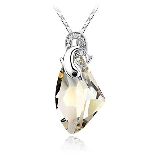 ZXMSJXL 925 Sterling Silber Kette Kristalle Schöne Delphin Anhänger Halskette & Anhänger Modeschmuck Für Frauen, Kristall Silber Schatten -