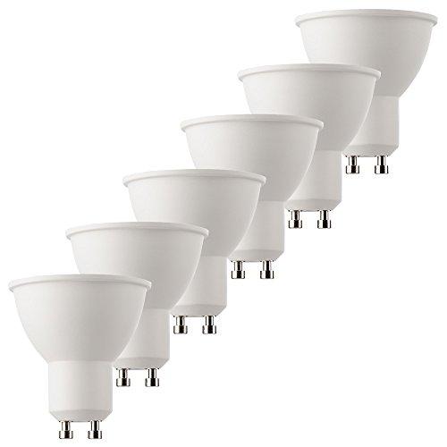 MÜLLER-LICHT 6er-SET HD95-LED Reflektor ersetzt 50 W, Plastik, GU10, 6.5 W, Weiß, 5 x 5 x 5.5 cm, 6 Einheiten -
