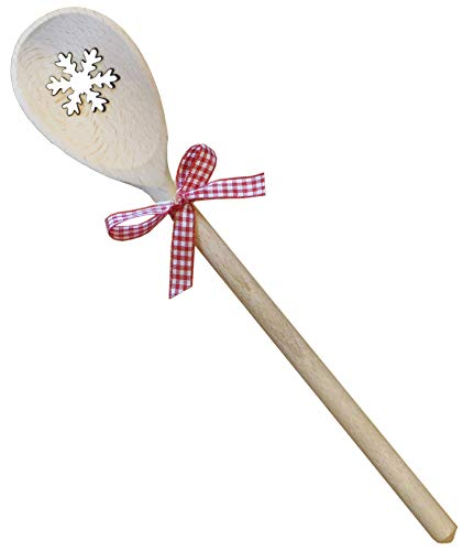 Kaltner Präsente Geschenkidee - Kochlöffel Holzlöffel Löffel aus Holz Buche Motiv Schneeflocke und Schleife