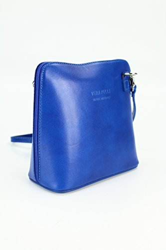 italiano Borsa in pelle piccolo pratico Borsa a tracolla Ladies elegant borsa a tracolla , 17x16,5x8,5 cm (B x H x T) blu royal