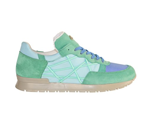Scarpe Sneakers L4K3 LAKE Unisex Mr BIG Cube Nylon Camoscio Pelle Azzurro Verde Acqua (38 EU)