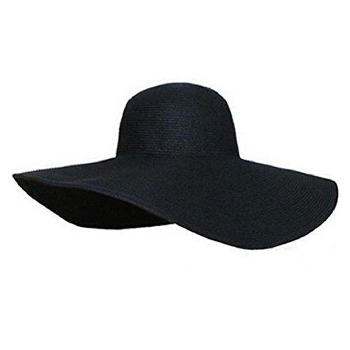 Culater® Frauen faltbare große Krempe Hut Sonnenhüte schlaff Sommer Strand Hut Strohhut (schwarz) Schwarze Große Krempe Hut Frauen
