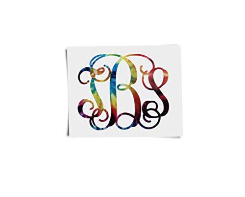 Celycasy Monogramm-Aufkleber - Tie Dye Monogramm - Vinyl Monogramm - Car Decal Monogram - Tie Dye Aufkleber - Vinyl Aufkleber für Tumbler - bunt - Baby-schritte Tie Dye