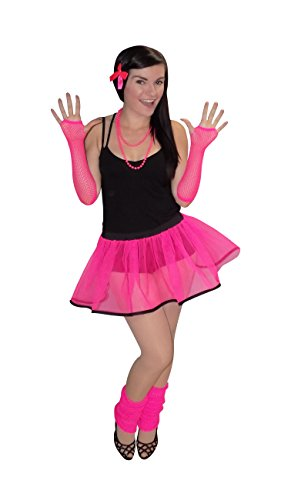 Pink 80's Neon Tutu Skirt with White or Black Bias & Legwarmers, Gloves & Beads (One Size UK 8-16, Pink with Black Bias)