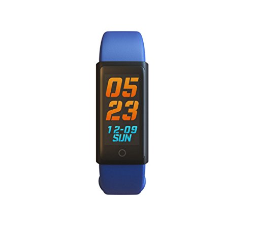 Neue 0,96-Zoll-Farbmonitor Blutdruck Sauerstoff Dynamische Herzfrequenz-Monitor Schritt Sitzerinnerung Smart Elektronische Geschenk Armband Schrittzähler, Sport-Tracking (Farbe : Blau)