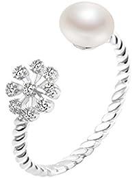 Le Premium® Argent Sterling 925galsang heureuse Fleurs et perles d'eau douce naturelle de doigt bague–Taille ajustable