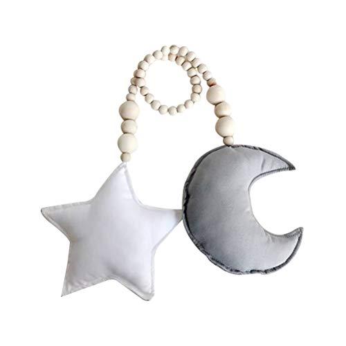 LIOOBO Babybett Mobile Mond und Sterne hängenden Dekor Baby Kinderzimmer Decke Krippe Mobile Kinderzimmer hängen Dekor (Grauer Mond und weißer Stern)