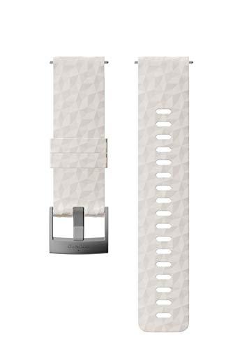 Suunto SS050223000 Correa de sustitución original para todos los relojes Suunto Spartan Sport WRH y Suunto 9, silicona, largo: 22,3 cm, ancho: 24 mm, incluye pasadores de fijación, beige/plateado