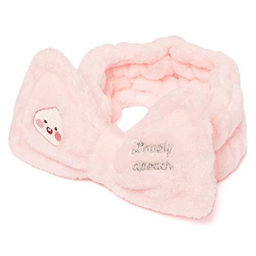 KAKAO FRIENDS Elastische weiche Stirnband Hairband mit Schleifenband für Make-up Gesichtswäsche Dusche Cute Character (Pink Apeach)