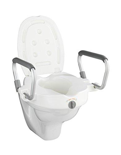 Wenko WC-Sitz Erhöhung mit Stützgriffen Secura - Toilettensitzerhöhung, 55 x 37,5 x 47,5 cm, weiß