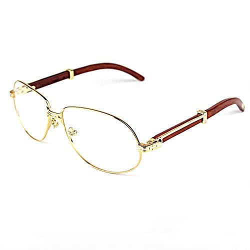 LKVNHP HochwertigeVintage Sonnenbrille Männer Holz Herren Sonnenbrille Carter Brillengestell Klarglas Gold Holz Opritcal