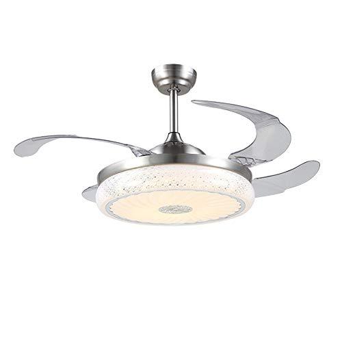 Moderne Silber Deckenventilator (RXUNAA Modern Led Unsichtbar Deckenventilator Licht, Low Profile Kronleuchter Mit Beleuchtung Einziehbar Deckenventilator Lampe-silber 42inch)
