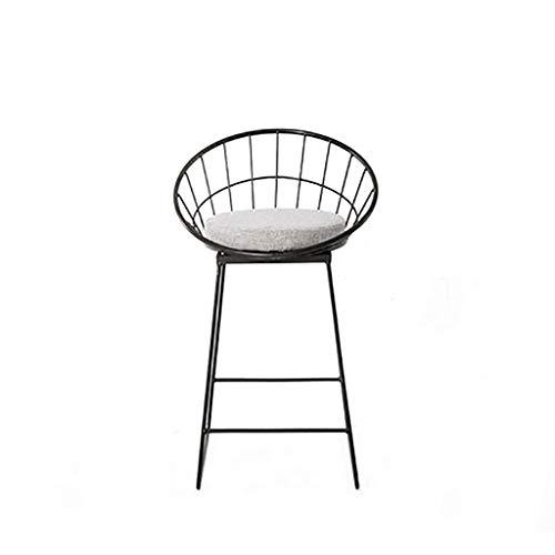 Einfache Barhocker Schmiedeeisen Barhocker Schwarz Hochhocker Modern Dining Stuhl Metall Draht Nordic Barhocker Freizeit Café Tisch Stuhl mit Rückenlehne mit waschbaren Matte Kissen