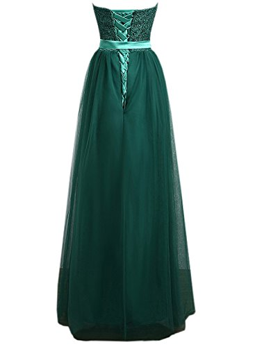 Azbro Women's Elegant Strapless Bow Waist Long Prom Dress green