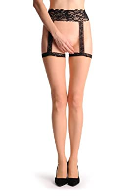 Nude Stockings With Black Back Seam & Black Lace Attached Suspender Belt - Beige Strapsstrümpfe Einheitsgroesse (34-42) from LissKiss