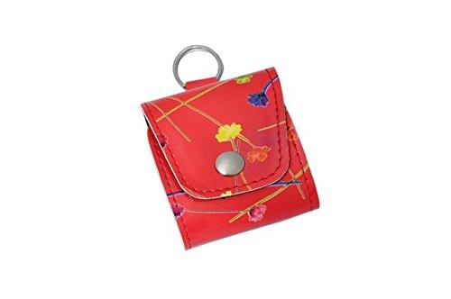 Taschenapotheke Notfalletui 4 Schlaufen/Gläser in Blumenmuster rot mit Braungläsern (UV-Schutz) und Etiketten