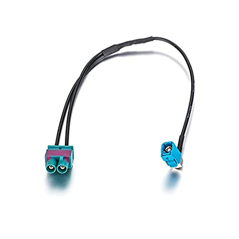 MAYA Twin Fakra male to Fakra female right angled antenna adapter to aftermarket radio for VW