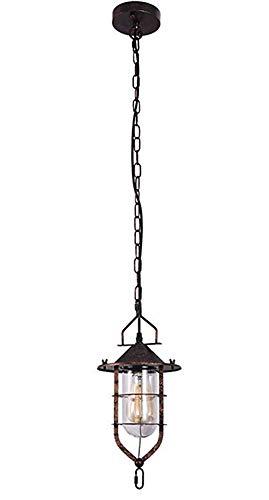 WVUSGD Metal Cage Pendant Light Shade Iron Rust Einzelkopf, Minimalistischer Schatten für Amerikanische Landschaft L Rustcolor -