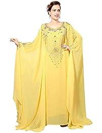 Bedi Arabe Caftan Islamique Abaya Farasha Style Emirats Arabes Unis  FEMME SMAXI Robe Musulmane Robe Longue Jilbab W Écharpe - Taille… cd4b341b7b5
