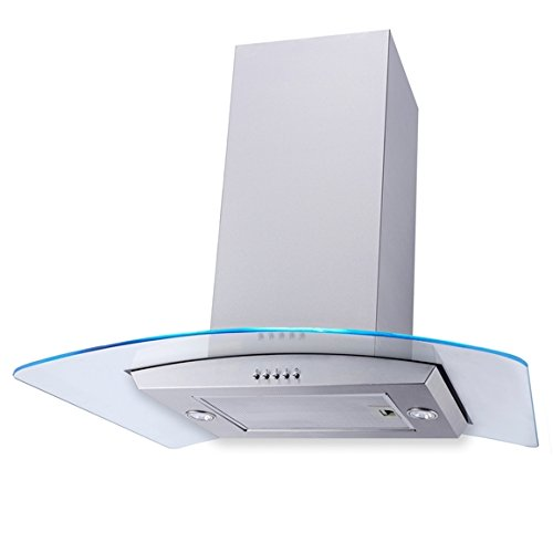 SIA 70cm 3 Colour LED Edge Lit Curved Glass Island Cooker Hood Extractor Fan