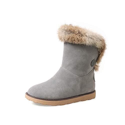 HAOLIEQUAN Winter Stiefel Damen Schuhe Schnee Stiefel Damen Halbstiefel Innen Warm Keile Ferse Größe 34-43,Grau,38 -