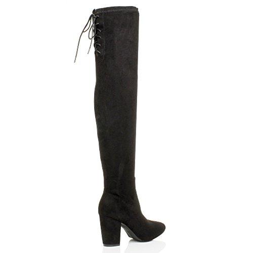 Femmes talon haut élastique zip lacer bottes de cheval cuissardes pointure Noir