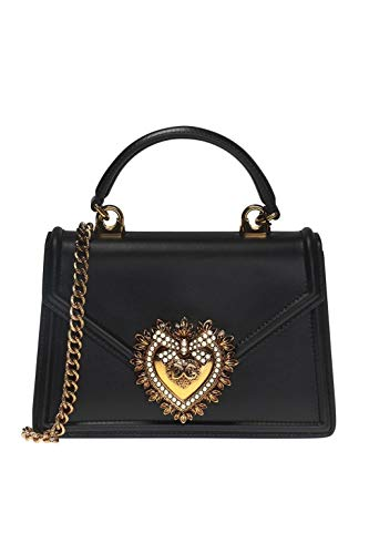 Gabbana Leder Handtasche Schwarz (DOLCE E GABBANA Damen Bb6711av89380999 Schwarz Leder Handtaschen)