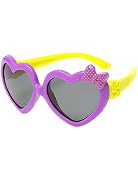XFentech Unisexo Niños Gafas de Sol para Niños & Niñas Moda Flexible Rubber Forma de Corazón Polarizadas Gafas