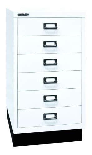 Bisley MultiDrawer, 29er Serie mit Sockel, DIN A3, 6 Schubladen, Metall, 696 Verkehrsweiß, 43.2 x 34.9 x 67 cm