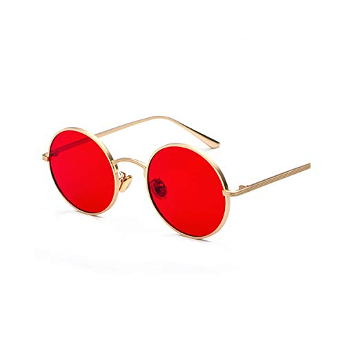 Sportbrillen, Angeln Golfbrille,Gold Round Metal Frame Sunglasses Men Retro NEW Summer Style Women Red Lens Sun Glasses Unisex Yellow Pink Black as show in photo full black